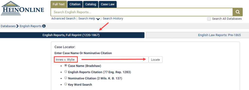 Search by Case Name in English Reports | HeinOnline