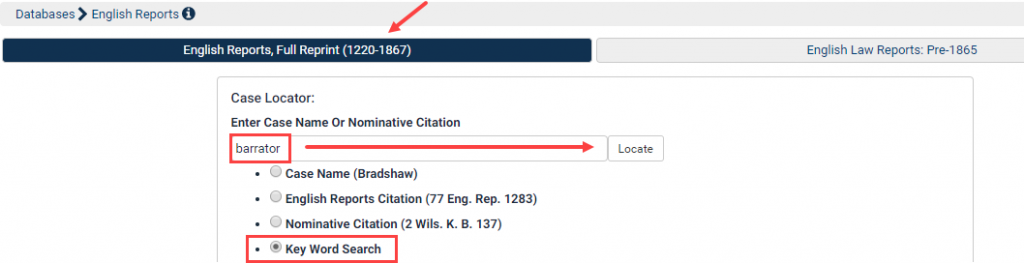 Search by Keyword in English Reports | HeinOnline Knowledge Base