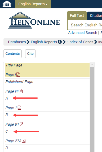 How do I search the Index of Cases in the English Reports to