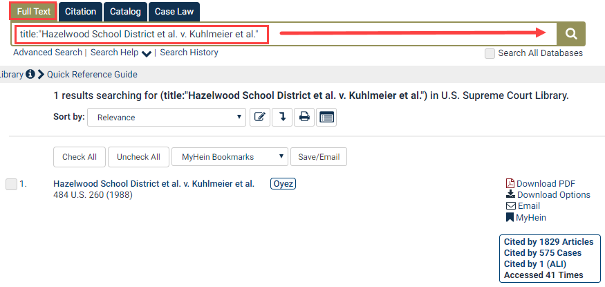 Search by Case Name in the U.S. Supreme Court Library   HeinOnline  Knowledge Base