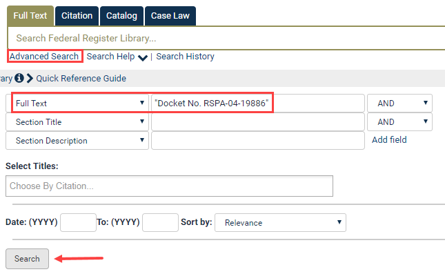 Search For An Agency Docket Number In The Federal Register